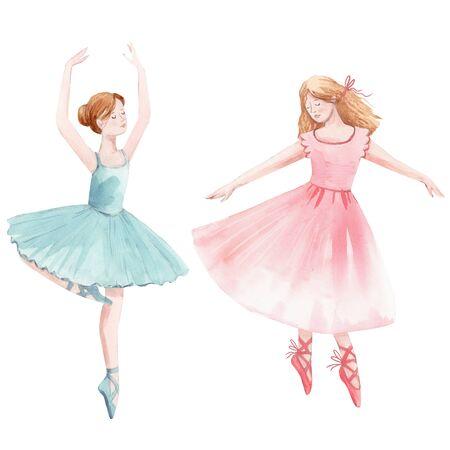 Watercolor cute dancing girls ballet nutcracker ballerina clip art isolated illustrations