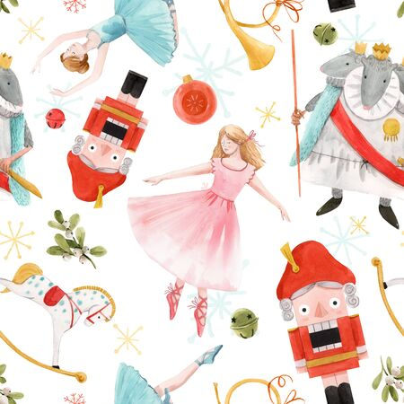 Watercolor christmas nutcracker fairy tale ballet seamless pattern Reklamní fotografie