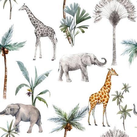 Watercolor vector seamless patterns with safari animals and palm trees. Elephant giraffe. Ilustração Vetorial