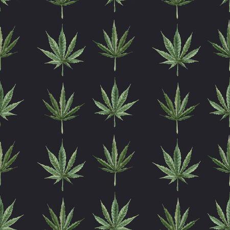 Beautiful vector watercolor medical marijuana seamless pattern. Natural therapeutic drug. Illustration