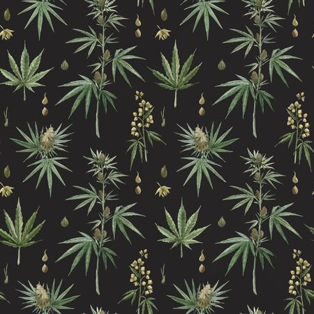 Beautiful vector watercolor medical marijuana seamless pattern. Natural therapeutic drug. Ilustrace