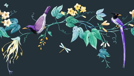 Watercolor floral horizontal pattern with blue birds of paradise and pink delicate flowers. Black background. Stock illustration.