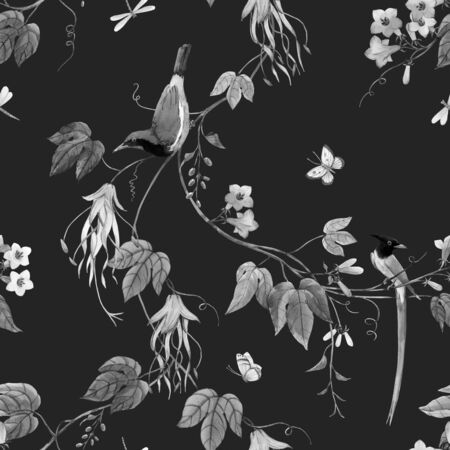 Watercolor floral pattern with blue birds of paradise and pink delicate flowers. Black background. Stock monochrome illustration.