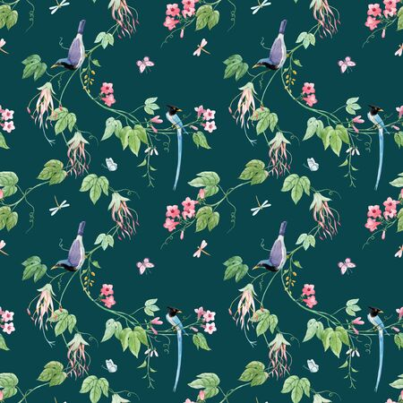 Watercolor floral pattern with blue birds of paradise and pink delicate flowers. Green background. Stock illustration. Stock Photo