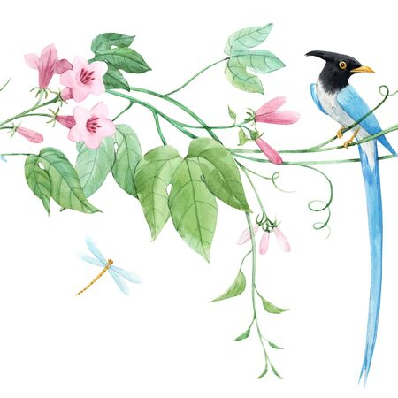 Watercolor floral horizontal pattern with blue birds of paradise and pink delicate flowers. White background. Stock illustration.