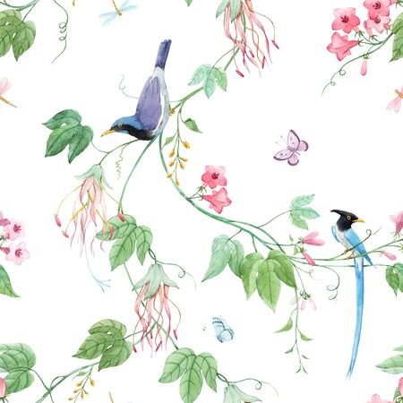Watercolor floral pattern with blue birds of paradise and pink delicate flowers. White background. Stock illustration.