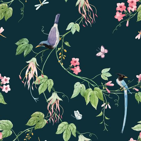 Watercolor vector floral pattern with blue birds of paradise and pink delicate flowers. Stock illustration.