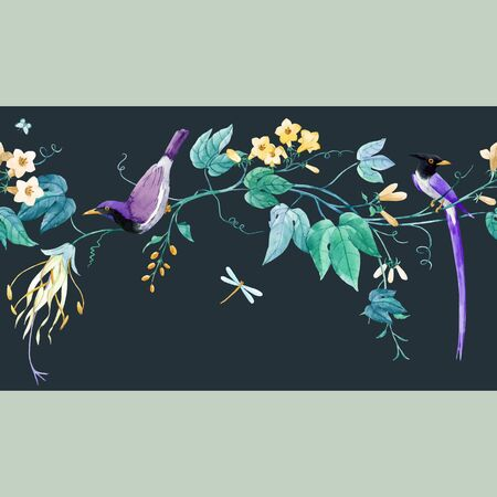 Watercolor floral pattern with blue birds of paradise and pink delicate flowers. Stock illustration.