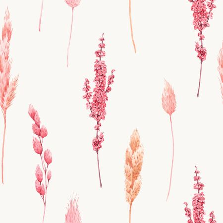 Beautiful vector seamless pattern with watercolor herbarium wild dried grass in pink and yellow colors.