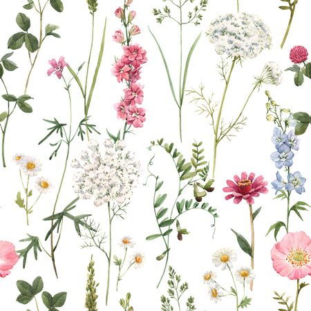 Beautiful floral summer seamless pattern with watercolor hand drawn field wild flowers.