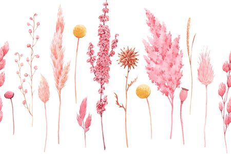 Beautiful seamless pattern with watercolor herbarium wild dried grass in pink