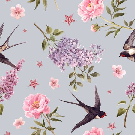 Beautiful vector gentle spring seamless floral pattern with watercolor anemone, lilac, peony flowers and swallow birds. Stock illustration.