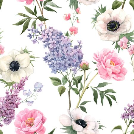 Beautiful vector seamless floral pattern with watercolor anemones, lilac and peony flowers. Stock illustration. Ilustração Vetorial