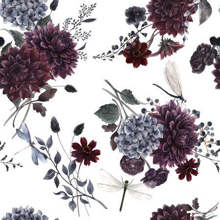Beautiful vector seamless pattern with watercolor dark blue, red and black dahlia hydrangea flowers. Stock illustration. Foto de archivo - 143278638