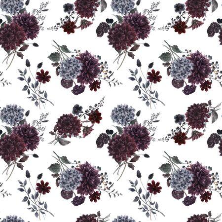 Beautiful vector seamless pattern with watercolor dark blue, red and black dahlia hydrangea flowers. Stock illustration. Foto de archivo - 143278640