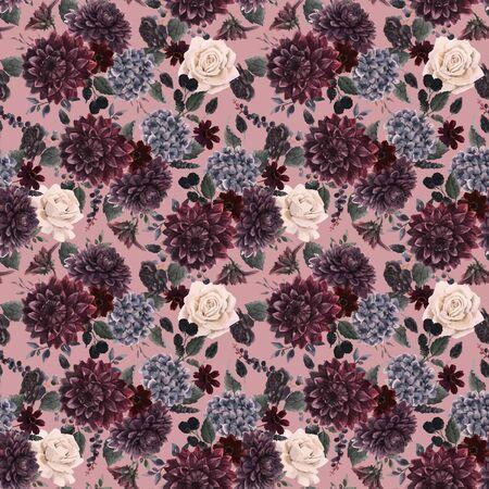 Beautiful vector seamless pattern with watercolor dark blue, red and black dahlia hydrangea flowers. Stock illustration. Foto de archivo - 143278645