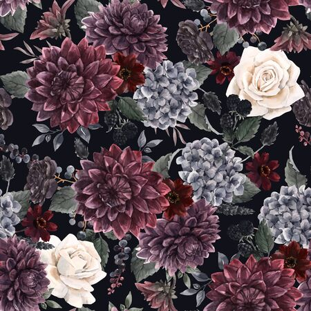 Beautiful vector seamless pattern with watercolor dark blue, red and black dahlia hydrangea flowers. Stock illustration. Foto de archivo - 143278646