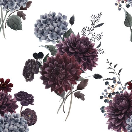 Beautiful vector seamless pattern with watercolor dark blue, red and black dahlia hydrangea flowers. Stock illustration. Foto de archivo - 143278647