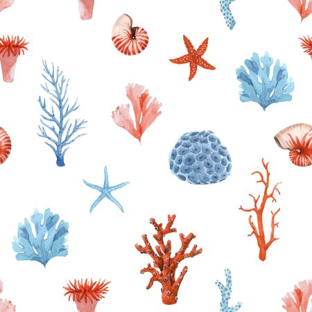 Beautiful vector seamless pattern with underwater watercolor sea life. Stock illustration.