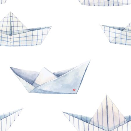 Beautiful vector seamless pattern with watercolor paper boats. Stock illustration.