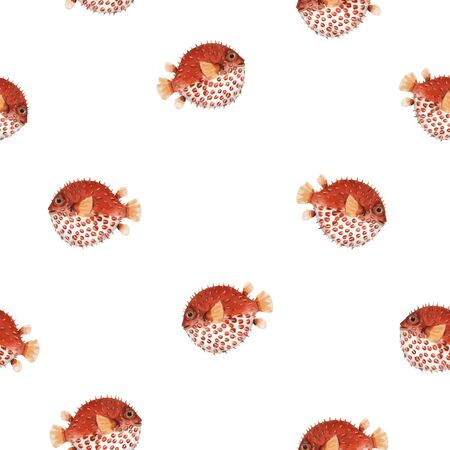 Beautiful seamless vector pattern with very cute watercolor hedgehog fishes. Stock illustration. Sea life wallpaper. Underwater marine background.
