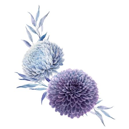 Beautiful vector bouquet composition with watercolor blue and purple dahlia flowers. Stock illustration.