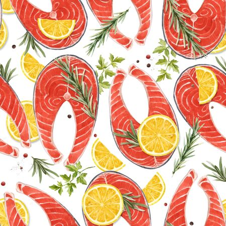 Beautiful vector seamless pattern with watercolor red salmon fish steak with lemon. Stock Illustration. Healthy food. Vector Illustratie