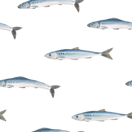 Beautiful vector seamless pattern with watercolor herring fish. Stock illustration.