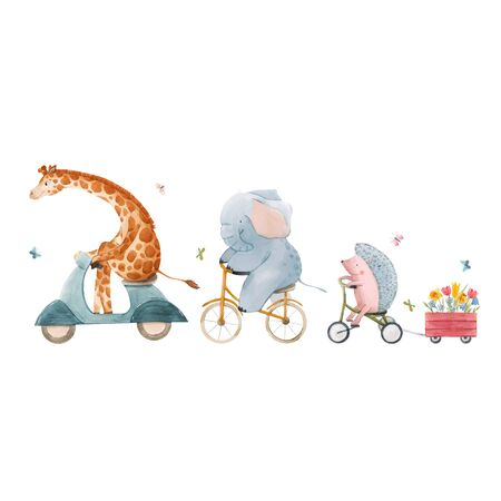 Beautiful vector stock illustration with watercolor hand drawn cute animals on transport.