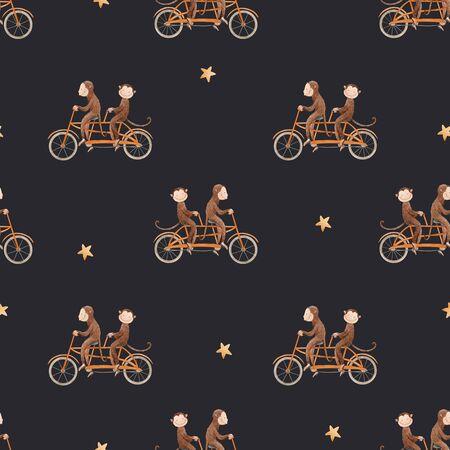 Beautiful seamless pattern with watercolor hand drawn monkey on bikes. Stock animal baby illustration.