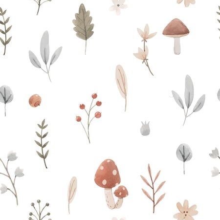 Beautiful seamless pattern with cute hand drawn forest paintings. Stock baby illustration.