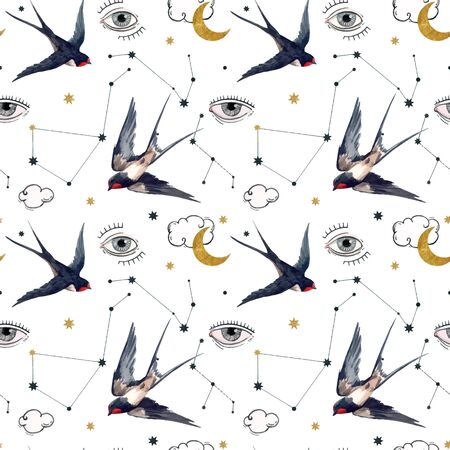 Beautiful vector seamless pattern with watercolor birds, moons and eyes. Stock illustration.
