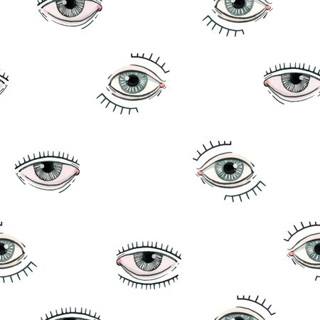 Beautiful vector seamless pattern with watercolor eyes. Stock illustration. 向量圖像