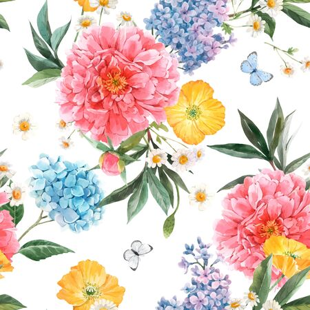 Beautiful vector seamless pattern with watercolor pink peony, blue hydrangea and lilac summer flowers and butterflies.