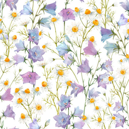 Beautiful vector seamless floral pattern with watercolor gentle summer bluebell and chamomile flowers. Stock illustration.