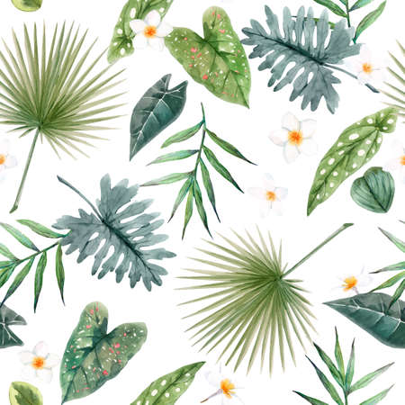 Beautiful vector seamless pattern with watercolor tropical leaves and flowers. Stock illustration Vecteurs