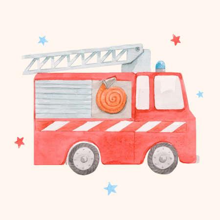 Beautiful vector image with cute watercolor toy fire engine. Stock illustration. Ilustración de vector