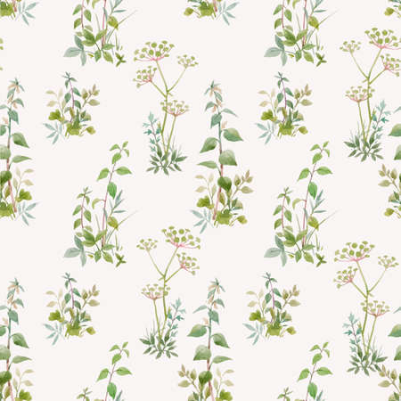 Beautiful vector seamless floral pattern with watercolor forest plants. Stock illustration.
