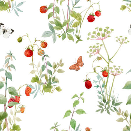 Beautiful vector seamless floral pattern with watercolor forest plants and berries. Stock illustration.