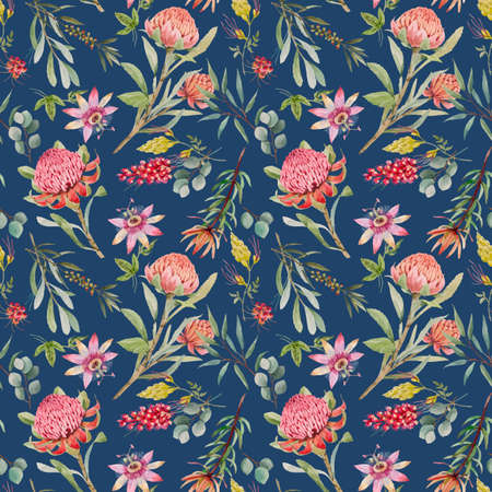 Beautiful vector seamless floral pattern with watercolor summer protea and passionflower flowers. Stock illustration.
