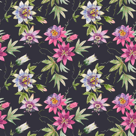 Beautiful vector seamless floral pattern with watercolor summer passionflower flowers. Stock illustration.
