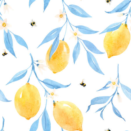 Beautiful vector seamless pattern with hand drawn watercolor lemons and blue leaves. Stock illustration.
