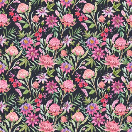 Beautiful vector seamless floral pattern with watercolor summer passionflower and waratah protea flowers. Stock illustration.