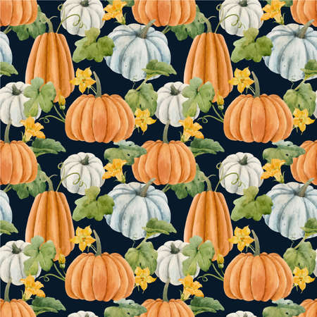 Beautiful autumn vector seamless pattern with watercolor pumpkin vegetables, leaves and flowers . Stock illustration.