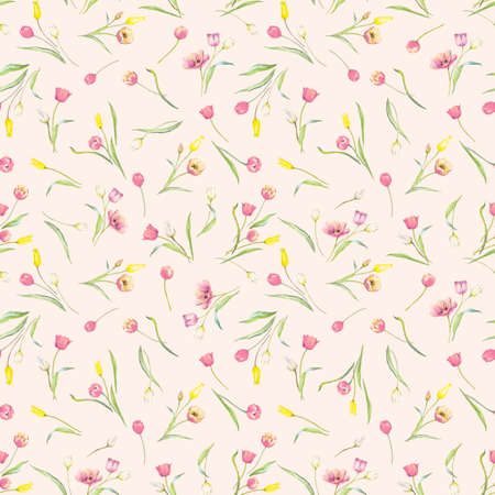 Beautiful seamless pattern with watercolor gentle blooming tulip flowers. Stock illustration.