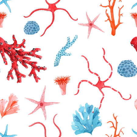 Beautiful vector seamless underwater pattern with watercolor starfish and corals. Stock illustration. Vetores