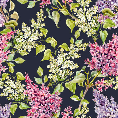 Beautiful floral spring seamless pattern with watercolor gentle lilac flowers. Stock illustration.