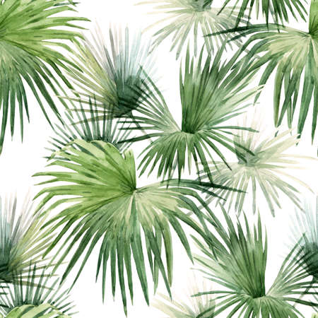 Beautiful seamless pattern with watercolor tropical palm leaves. Stock illustration.