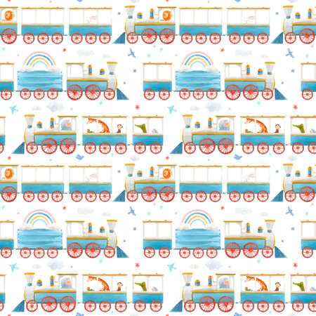 Beautiful vector seamless baby pattern with cute watercolor trains. Stock illustration.