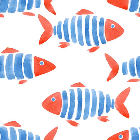 Beautiful vector fashinable seamless pattern with cute watercolor fish. Stock design illustration.